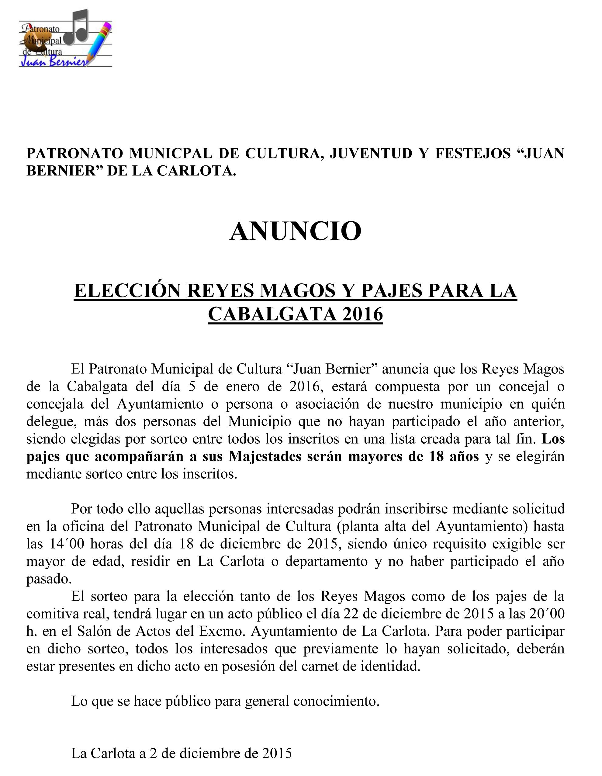 ANUNCIO  ELECCIÓN REYES MAGOS Y PAJES PARA LA CABALGATA 2016 1