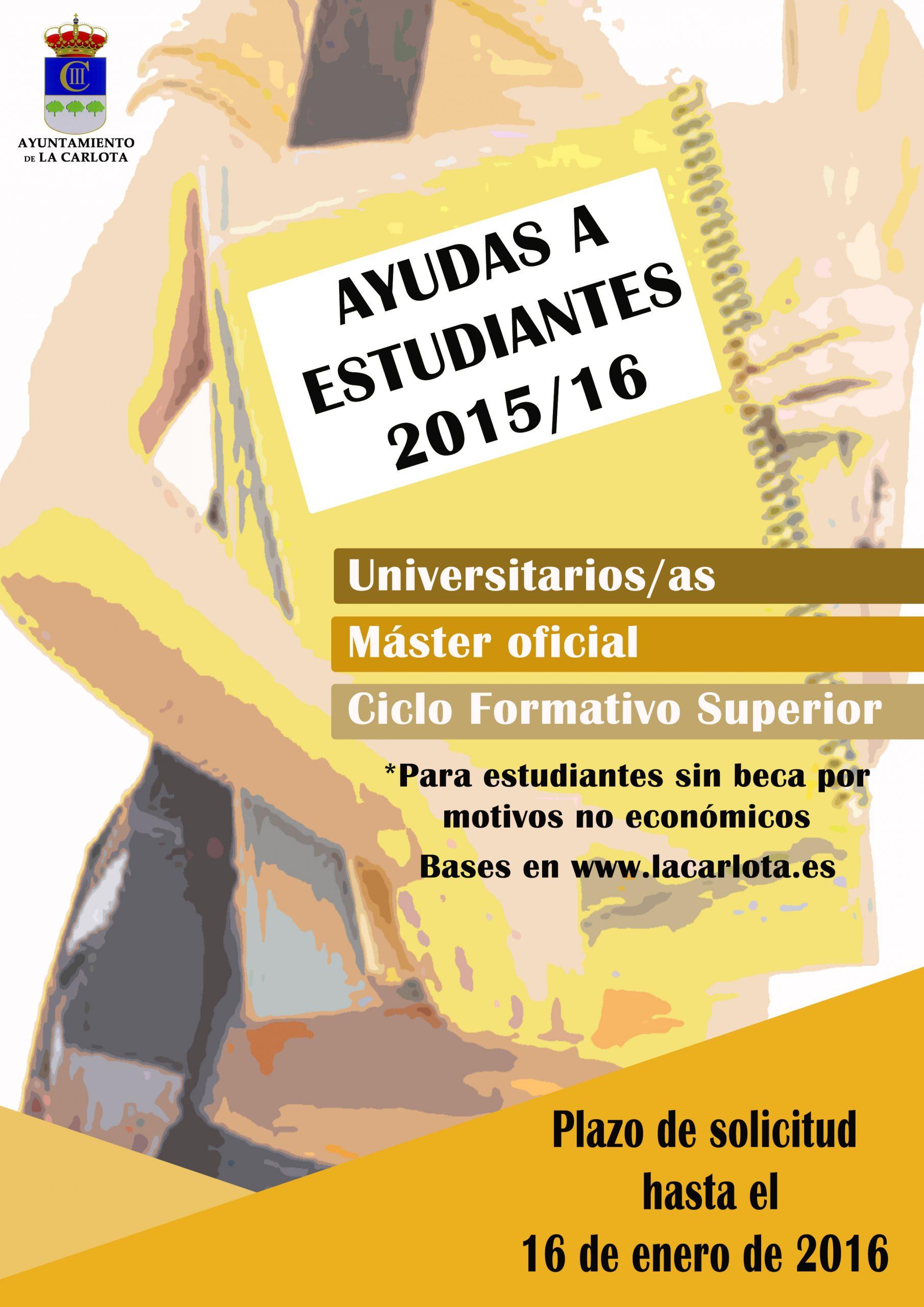 ANUNCIO.- BASES DE LAS AYUDAS 2015-2016 A ESTUDIANTES UNIVERSITARIOS, MÁSTERES OFICIALES Y CICLOS FORMATIVOS DE GRADO SUPERIOR 1
