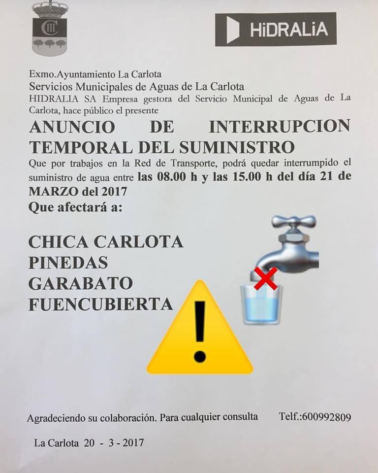 ¡ATENCIÓN! CORTE TEMPORAL SUMINISTRO AGUA 1