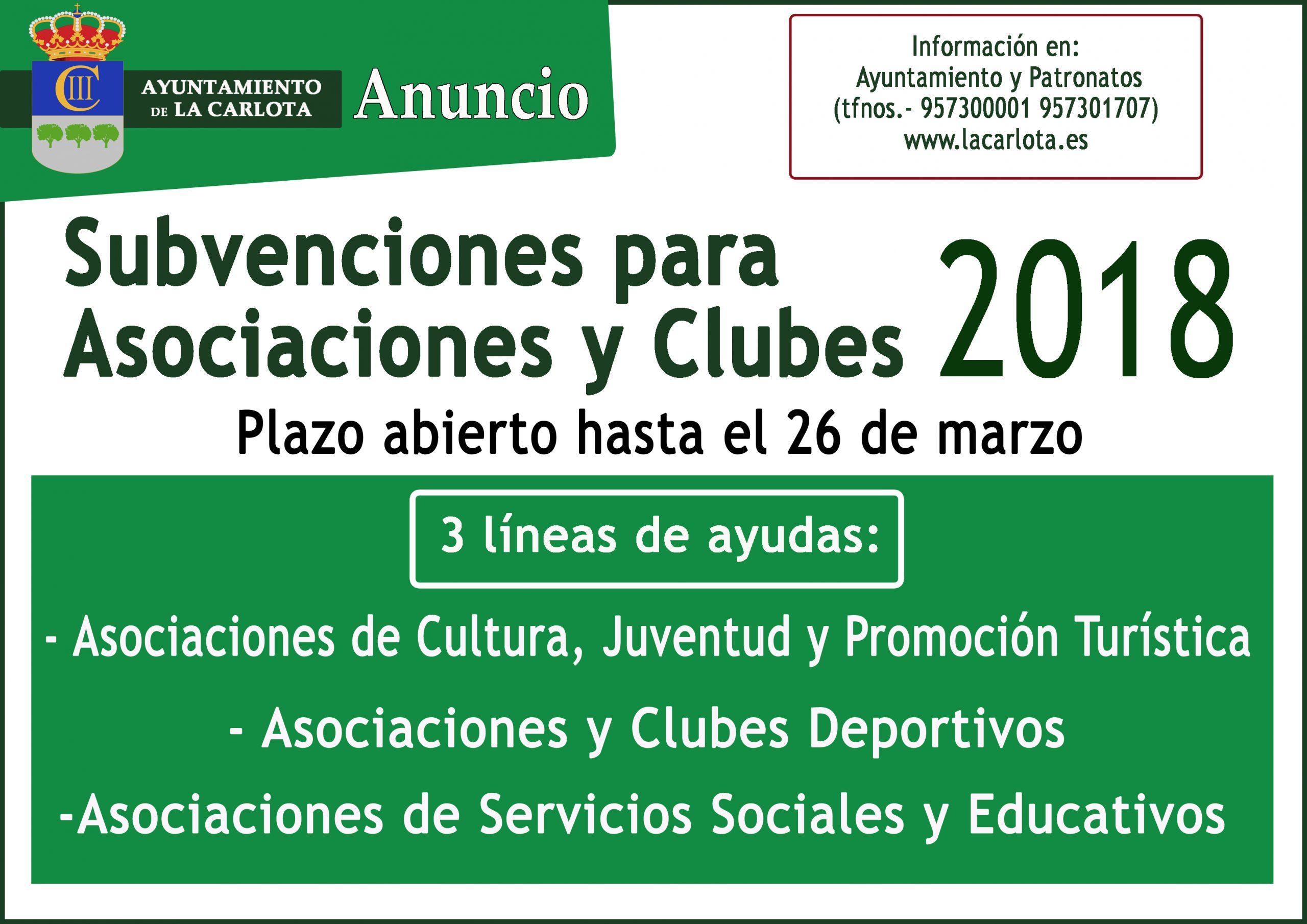 Convocatoria subvenciones a asociaciones y clubes de La Carlota 2018 1