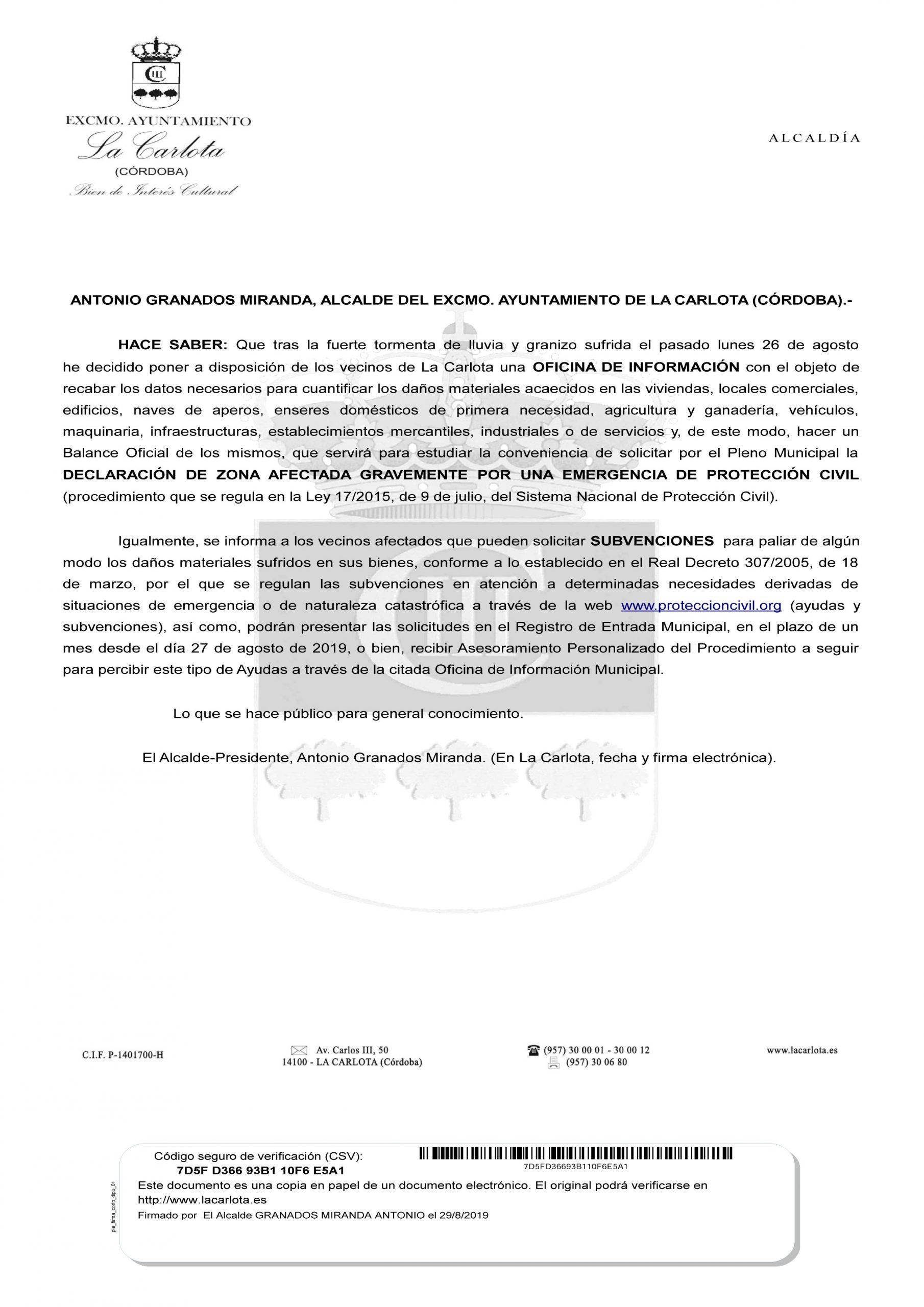 BANDO INFORMATIVO OFICINA DE INFORMACIÓN PARA EVALUACIÓN DAÑOS POR GRANIZADA Y SUBVENCIONES DISPONIBLES 1