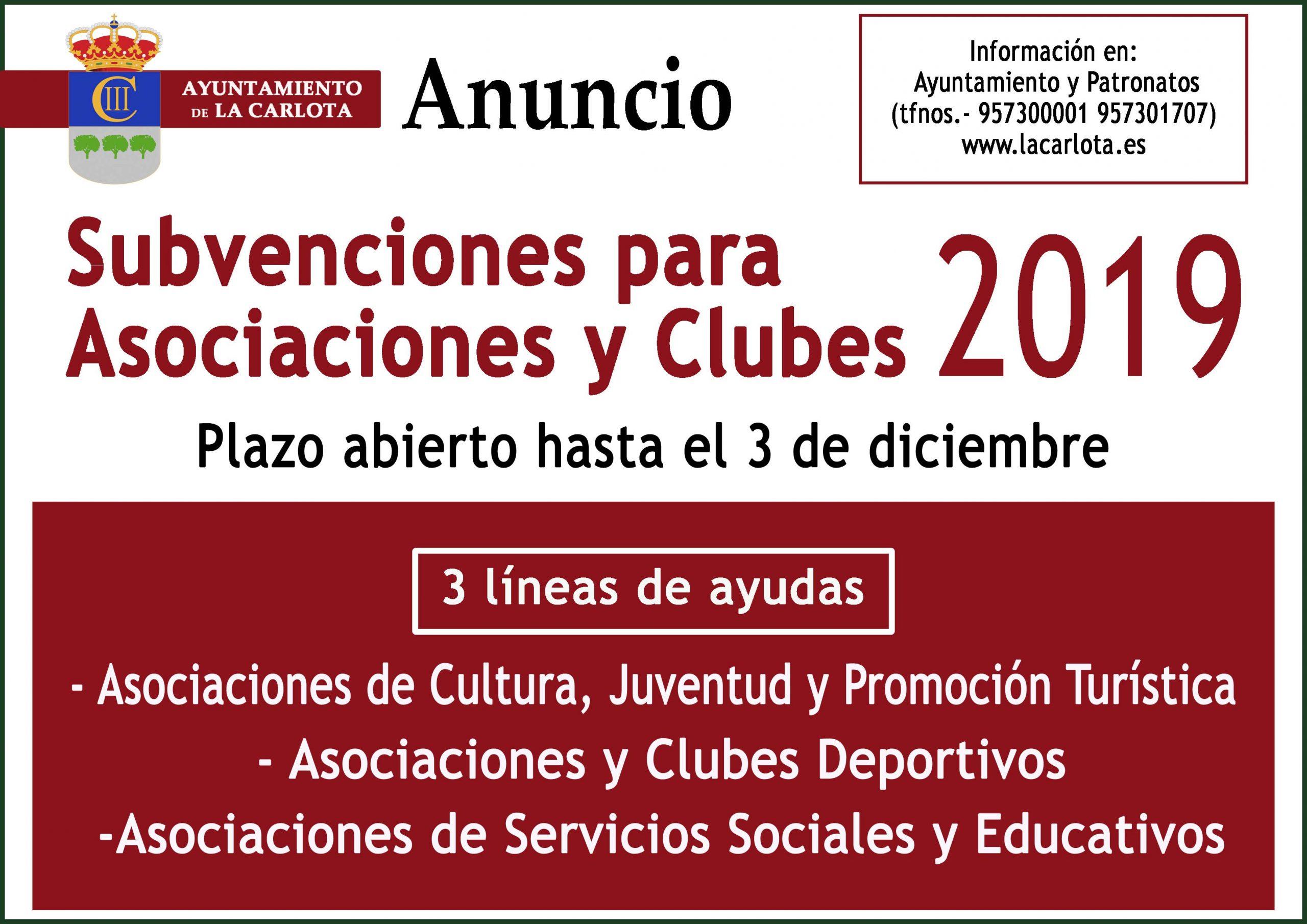 Subvenciones a asociaciones y clubes 2019 1