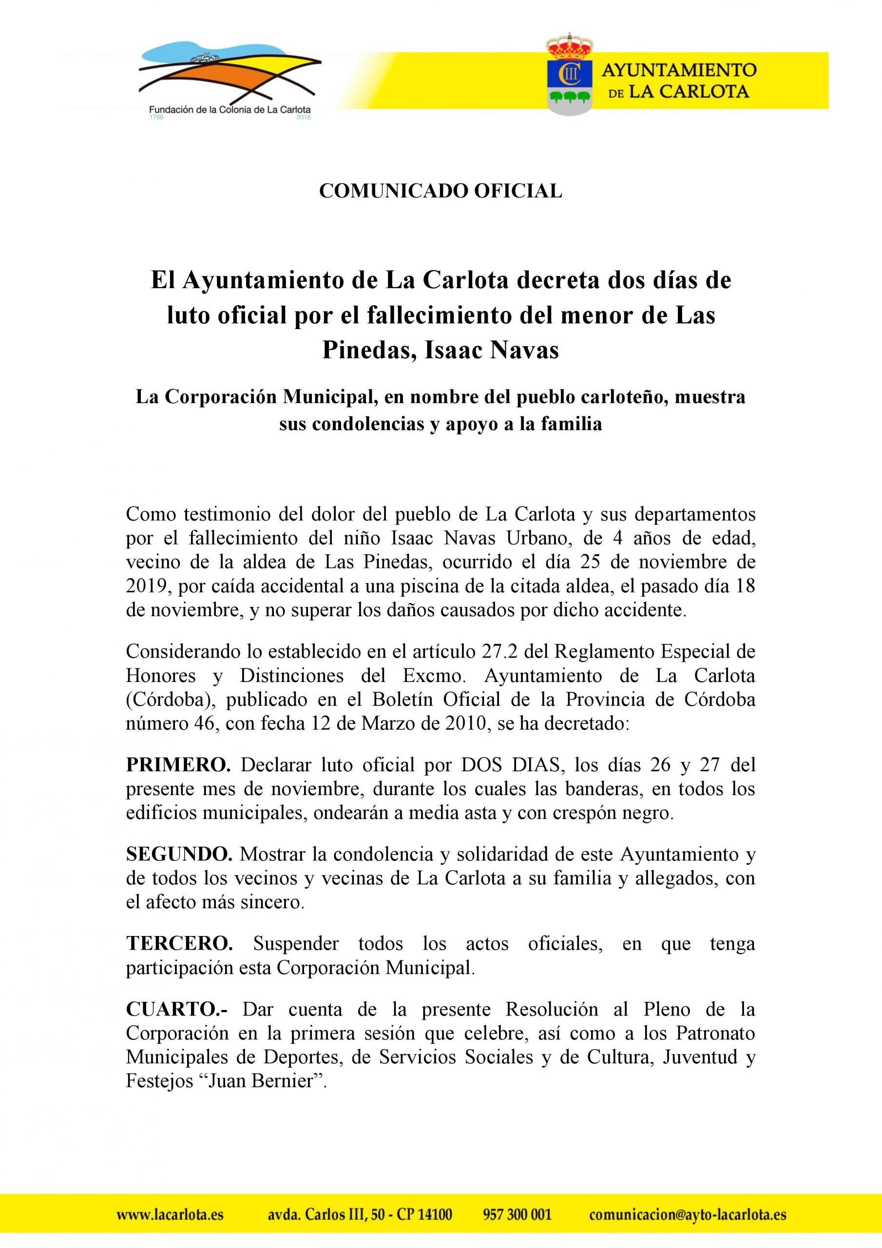 EL AYUNTAMIENTO DE LA CARLOTA DECRETA DOS DÍAS DE LUTO OFICIAL POR EL FALLECIMIENTO DEL MENOR DE LAS PINEDAS, ISAAC NAVAS 1