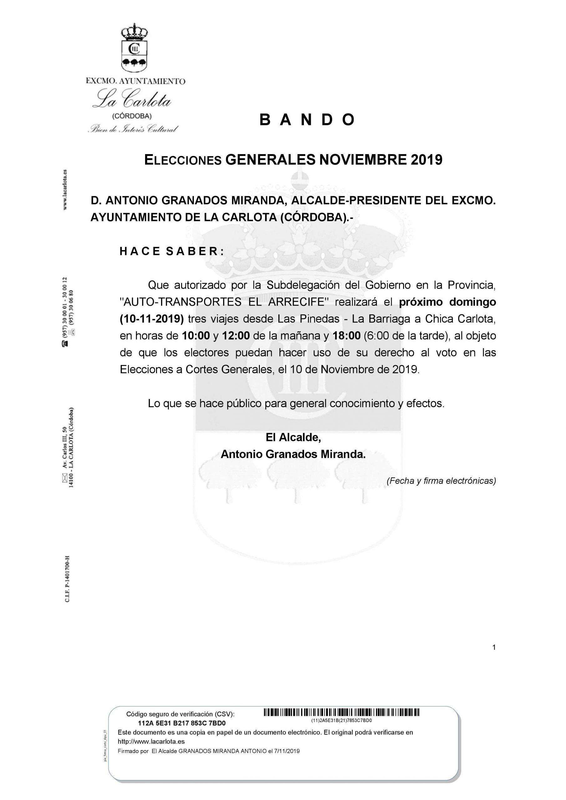 BANDO ELECCIONES GENERALES NOVIEMBRE 2019  1