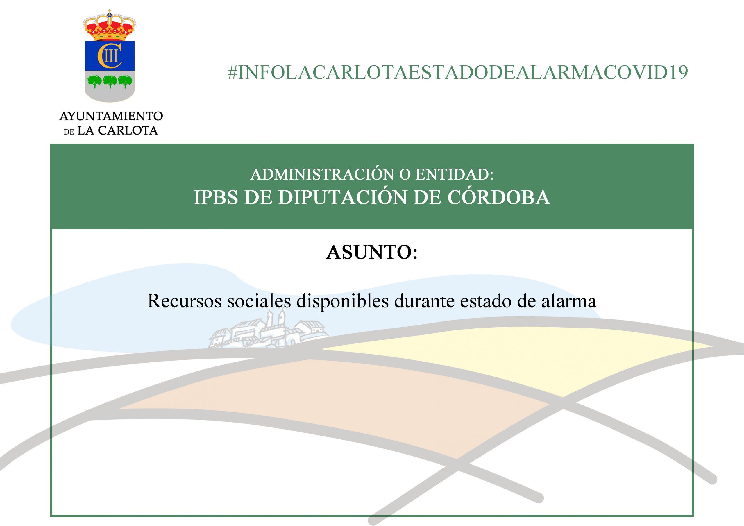 #INFOLACARLOTAESTADODEALARMACOVID19 RECURSOS SOCIALES DISPONIBLES DURANTE ESTADO DE ALARMA 1