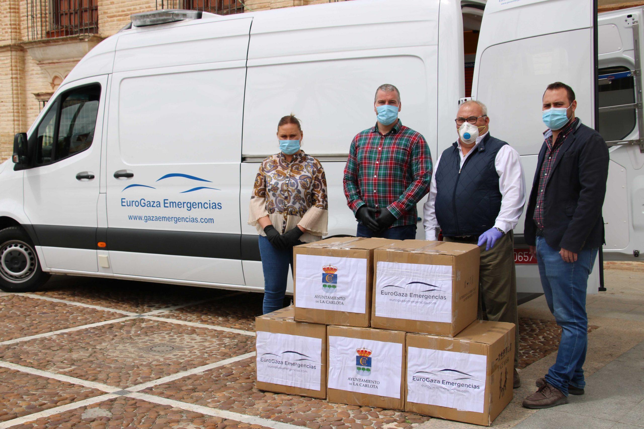 EL AYUNTAMIENTO DE LA CARLOTA RECIBE 15.000 MASCARILLAS DONADAS POR LA EMPRESA LOCAL EUROGAZA EMERGENCIAS PARA REPARTIRLAS A LOS CARLOTEÑOS Y LAS CARLOTEÑAS 1