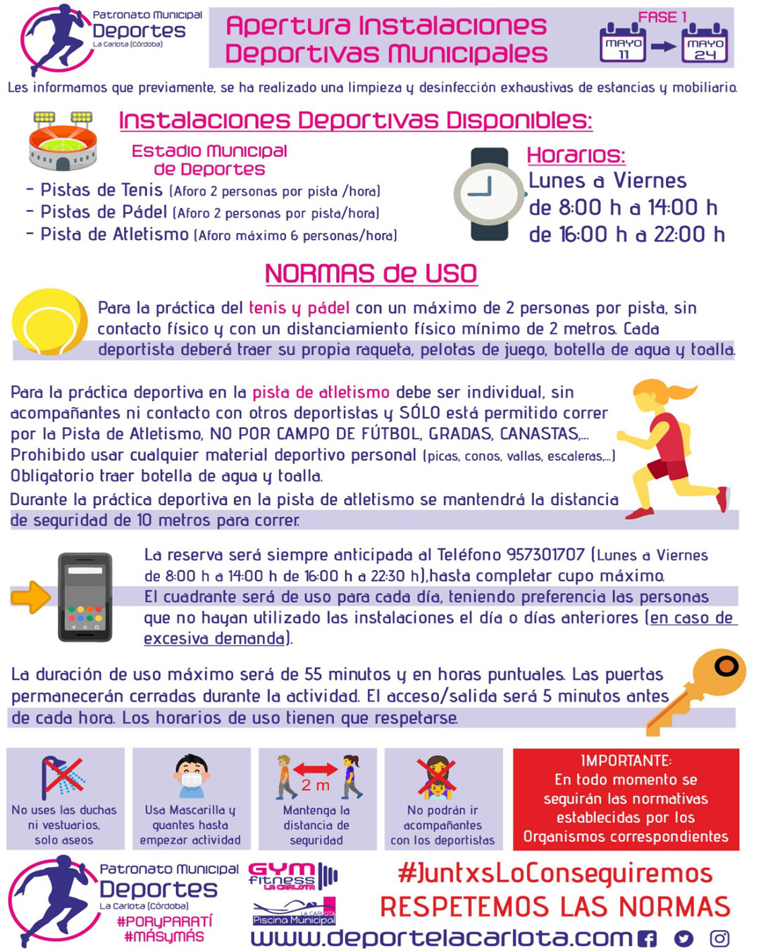 INSTALACIONES DEPORTIVAS MUNICIPALES DISPONIBLES DESDE EL 11 DE MAYO 1