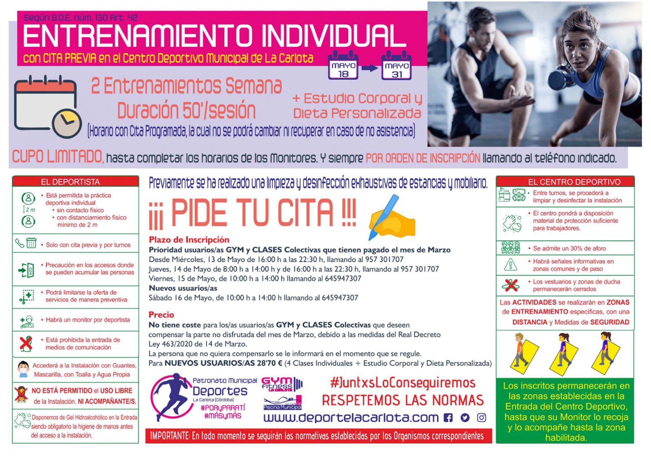 ACTIVIDADES DISPONIBLES EN EL CENTRO DEPORTIVO MUNICIPAL A PARTIR DEL 18 DE MAYO 1