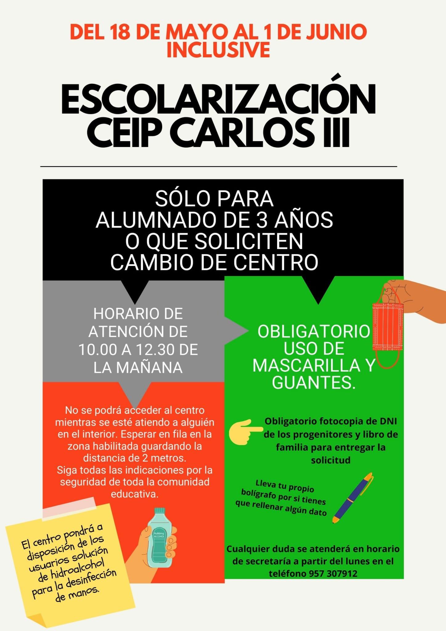ESCOLARIZACIÓN EN COLEGIOS DE LA CARLOTA CURSO 2020/2021 1