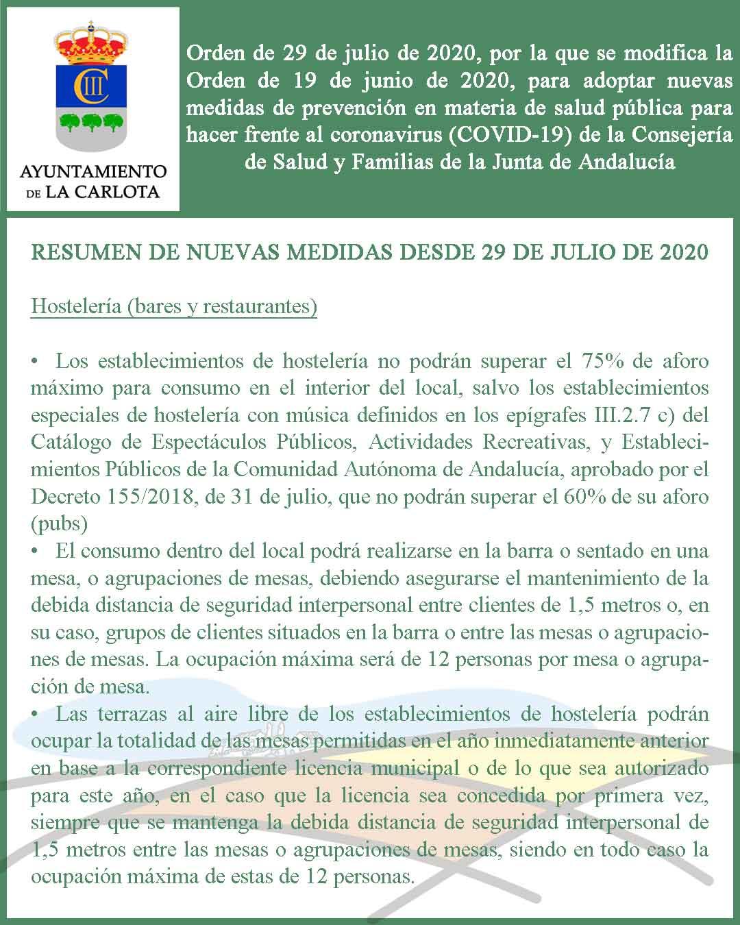 ORDEN DE 29 DE JULIO DE 2020, POR LA QUE SE MODIFICA LA ORDEN DE 19 DE JUNIO DE 2020, PARA ADOPTAR NUEVAS MEDIDAS DE PREVENCIÓN EN MATERIA DE SALUD PÚBLICA PARA HACER FRENTE AL CORONAVIRUS (COVID-19) DE LA CONSEJERÍA DE SALUD Y FAMILIAS DE LA JUNTA DE AND 1