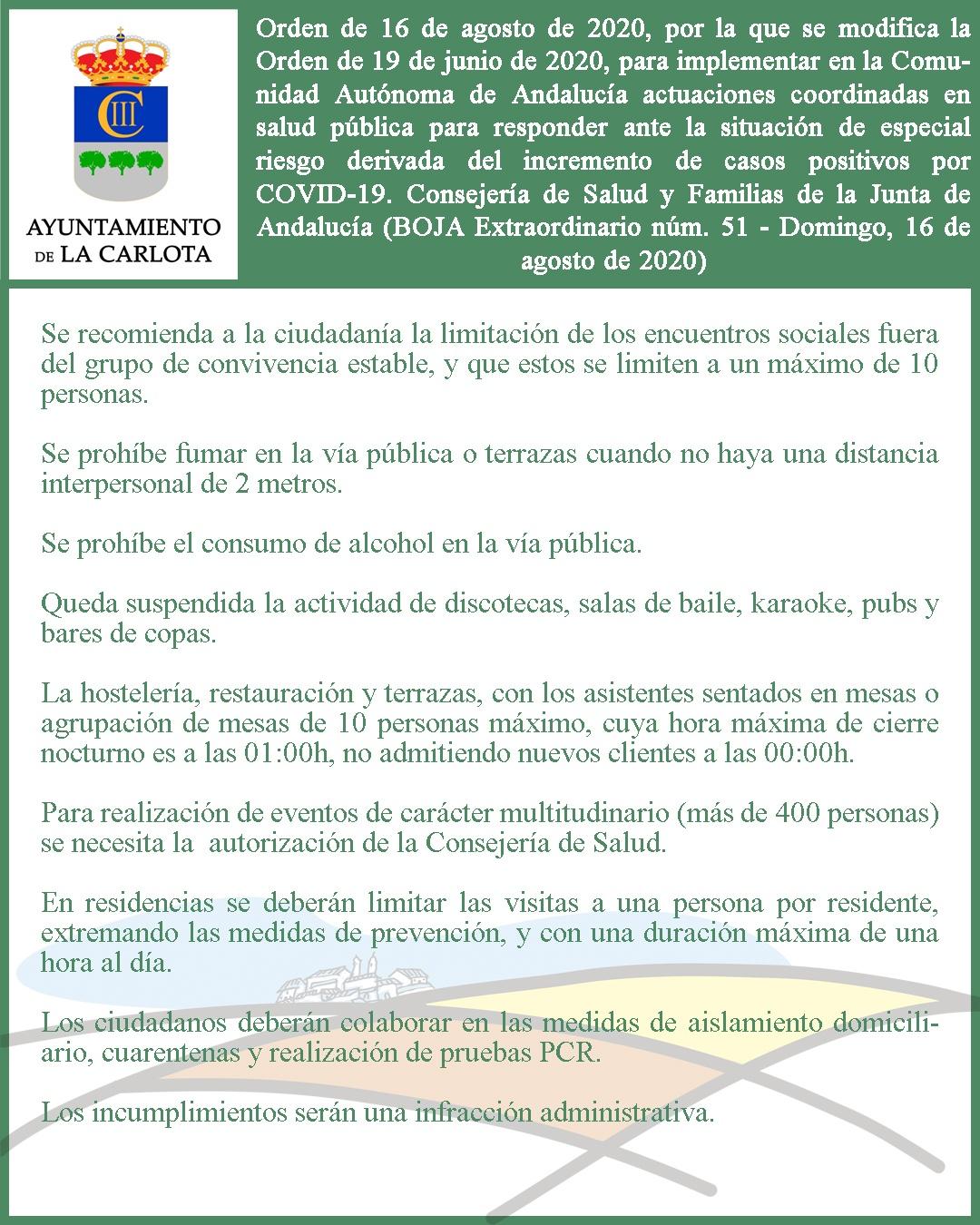 ORDEN DE 16 DE AGOSTO DE 2020, POR LA QUE SE MODIFICA LA ORDEN DE 19 DE JUNIO DE 2020, PARA IMPLEMENTAR EN LA COMUNIDAD AUTÓNOMA DE ANDALUCÍA ACTUACIONES COORDINADAS EN SALUD PÚBLICA PARA RESPONDER ANTE LA SITUACIÓN DE ESPECIAL RIESGO DERIVADA DEL INCREME 1