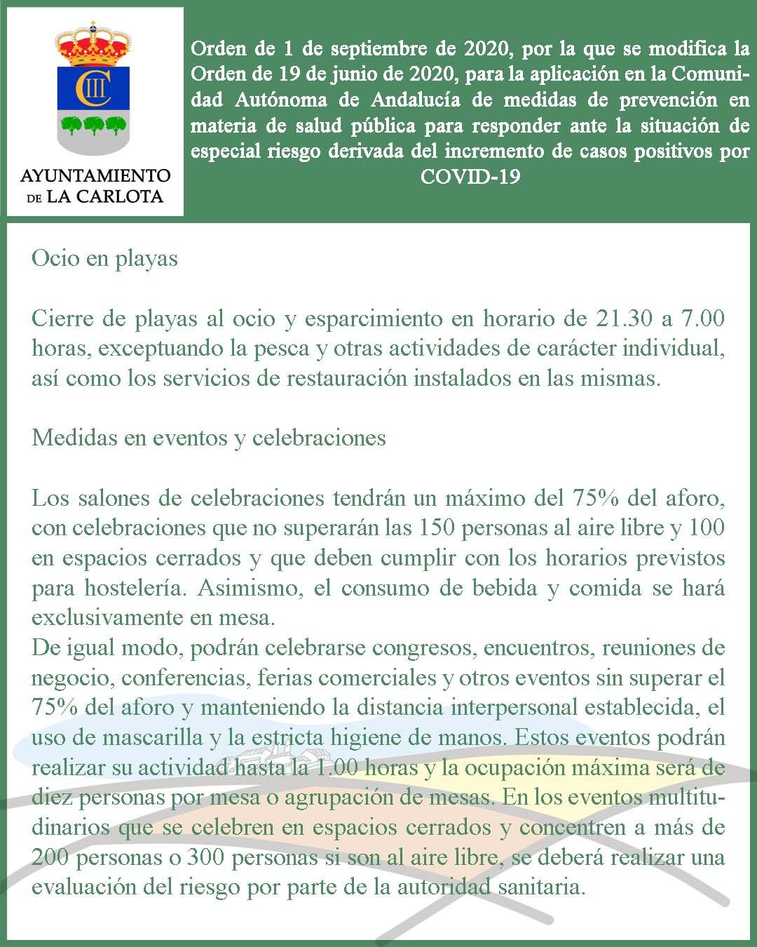ORDEN DE 1 DE SEPTIEMBRE DE 2020, POR LA QUE SE MODIFICA LA ORDEN DE 19 DE JUNIO DE 2020, PARA LA APLICACIÓN EN LA COMUNIDAD AUTÓNOMA DE ANDALUCÍA DE MEDIDAS DE PREVENCIÓN EN MATERIA DE SALUD PÚBLICA PARA RESPONDER ANTE LA SITUACIÓN DE ESPECIAL RIESGO DER 1