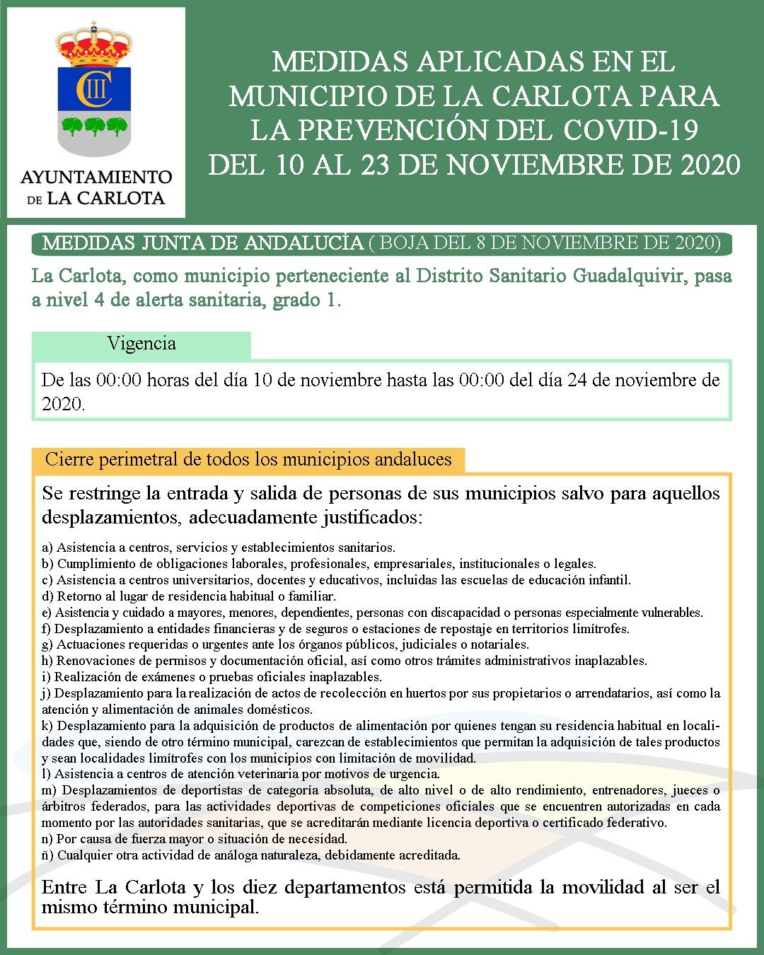 MEDIDAS APLICADAS EN EL  MUNICIPIO DE LA CARLOTA PARA  LA PREVENCIÓN DEL COVID-19  DEL 10 AL 23 DE NOVIEMBRE DE 2020   1