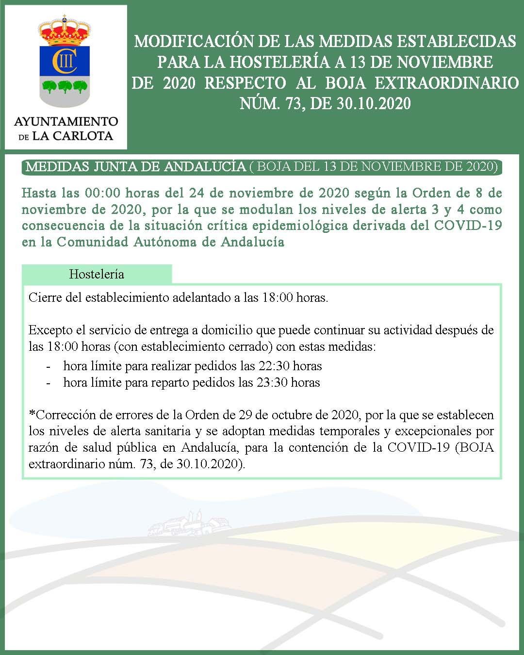 MODIFICACIÓN DE LAS MEDIDAS ESTABLECIDAS PARA LA HOSTELERÍA A 13 DE NOVIEMBRE DE 2020 RESPECTO AL BOJA EXTRAORDINARIO NÚM. 73, DE 30.10.2020  1