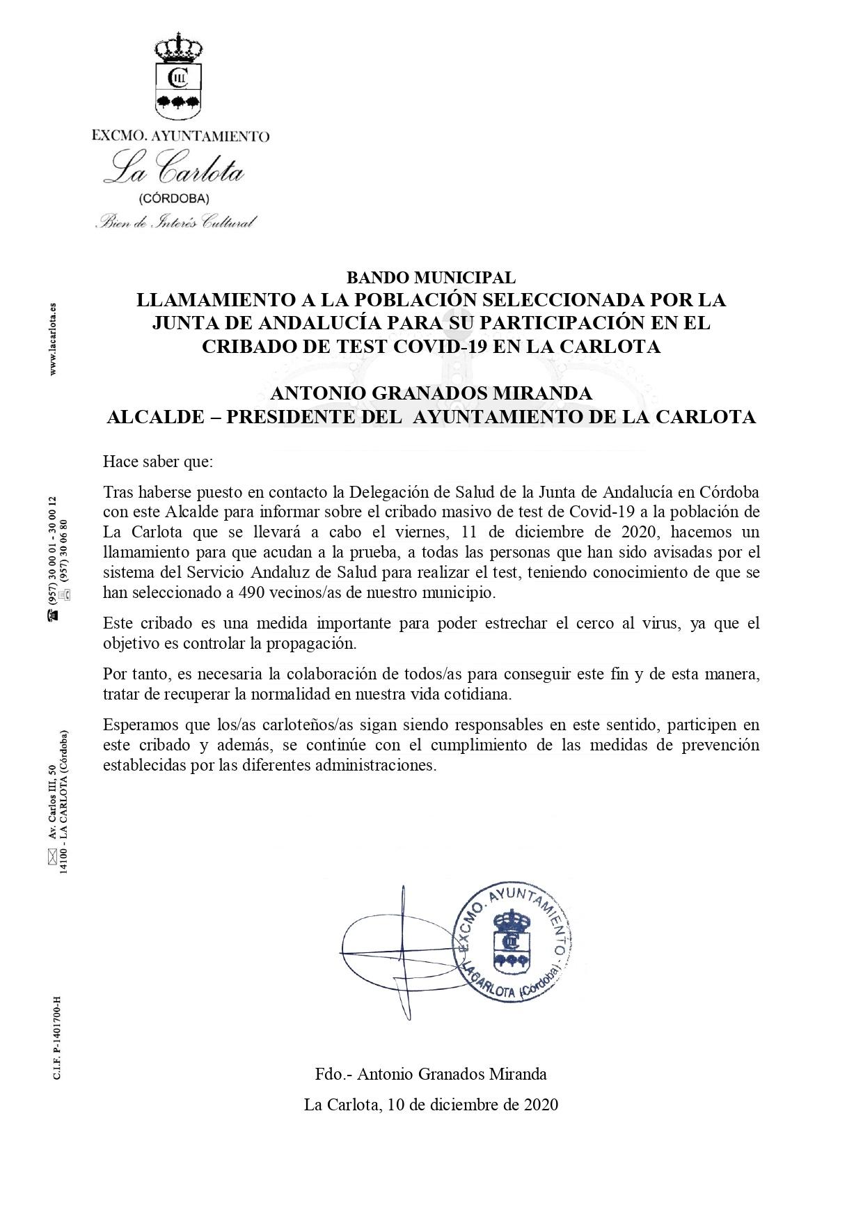 BANDO MUNICIPAL LLAMAMIENTO A LA POBLACIÓN SELECCIONADA POR LA JUNTA DE ANDALUCÍA PARA SU PARTICIPACIÓN EN EL CRIBADO DE TEST COVID-19 EN LA CARLOTA  1