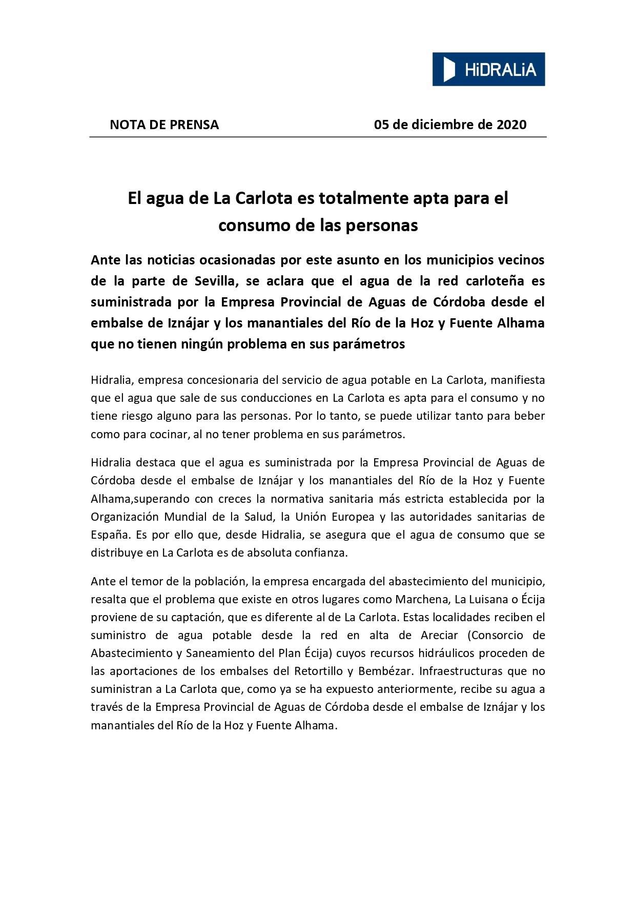 INFORMACIÓN DE LA EMPRESA DE AGUA POTABLE DE LA CARLOTA EL AGUA DE LA CARLOTA ES TOTALMENTE APTA PARA EL CONSUMO DE LAS PERSONAS  1