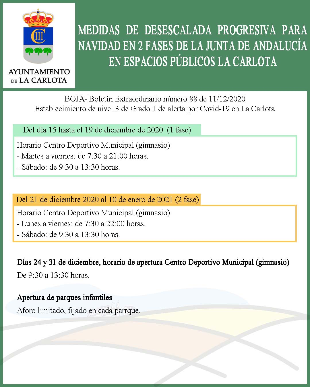 MEDIDAS DE DESESCALADA PROGRESIVA PARA NAVIDAD EN 2 FASES DE LA JUNTA DE ANDALUCÍA EN ESPACIOS PÚBLICOS LA CARLOTA   1