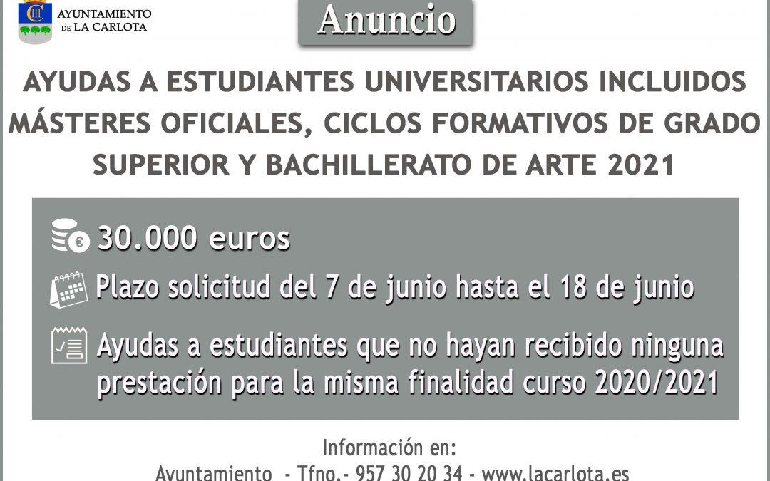 CONVOCATORIA AYUDAS A ESTUDIANTES 2021