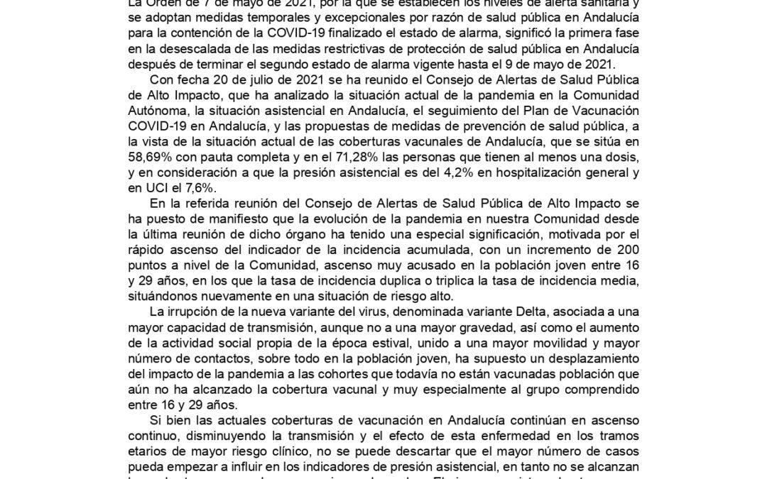 MODIFICACIONES DE MEDIDAS DE PREVENCIÓN DE COVID-19 DE LA JUNTA DE ANDALUCÍA A PARTIR DEL 22 DE JULIO DE 2021